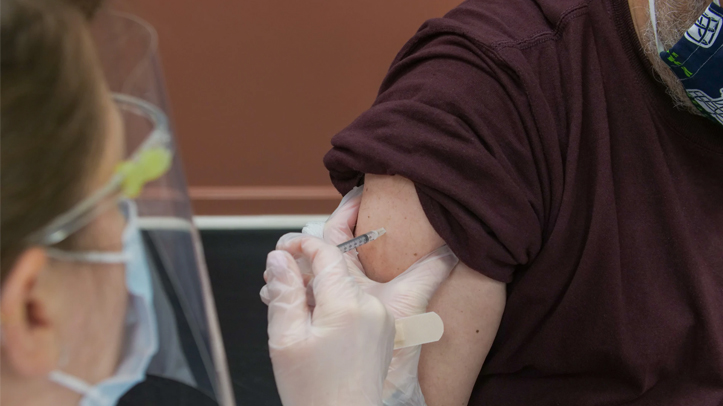Receiving a Covid vaccination